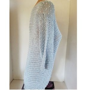 Ethos Accessories - Pale Blue Crocheted Lace Sweater with Faux Pearls